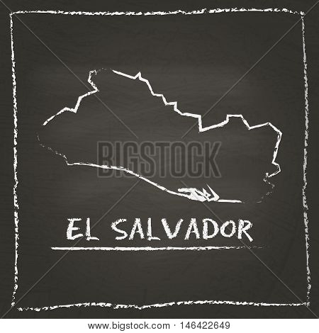 El Salvador Outline Vector Map Hand Drawn With Chalk On A Blackboard. Chalkboard Scribble In Childis