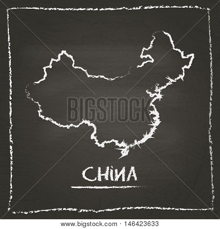 China Outline Vector Map Hand Drawn With Chalk On A Blackboard. Chalkboard Scribble In Childish Styl