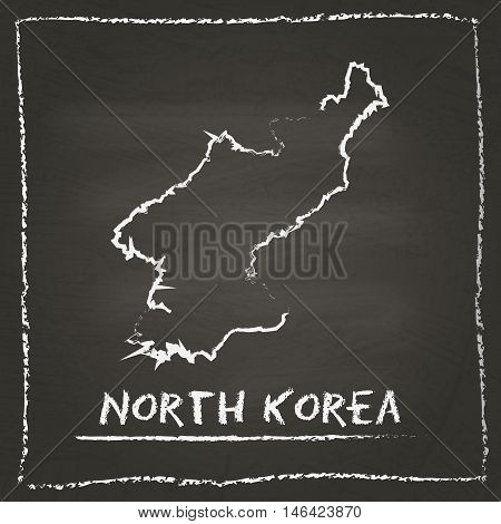 Korea, Democratic People's Republic Of Outline Vector Map Hand Drawn With Chalk On A Blackboard. Cha