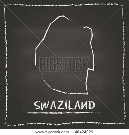 Swaziland Outline Vector Map Hand Drawn With Chalk On A Blackboard. Chalkboard Scribble In Childish