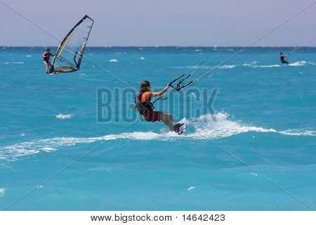 kite boarder on the Ionian island of Lefkas in Greece