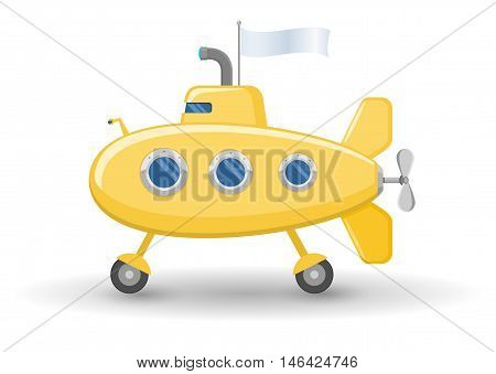 Funny yellow submarine on wheels with a white flag. Children's toy. Vector graphics