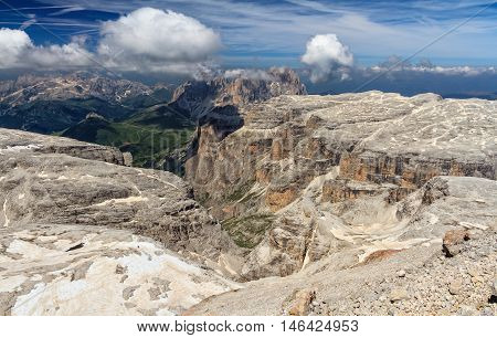 Sella group and Sassolungo mount from Piz Boe Italian Dolomites