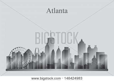 Atlanta City Skyline Silhouette In Grayscale
