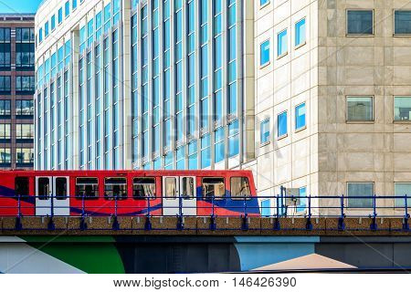 Docklands Light Railway In Canary Wharf