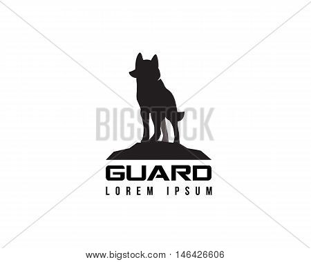 Dog secure guard logo template, on a white background silhouette of a guard dog.