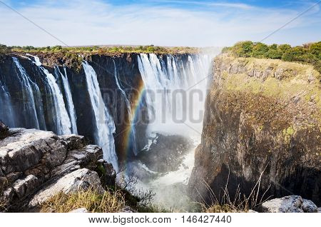 View of the Victoria Falls in Zimbabwe Africa; Concept for travel in Africa