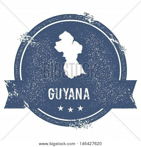 Guyana Mark. Travel Rubber Stamp With The Name And Map Of Guyana, Vector Illustration. Can Be Used A