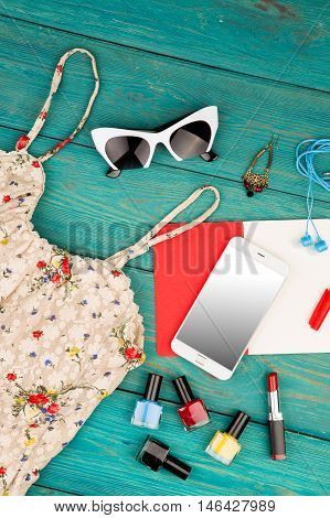 Voyage Concept - Set Of Woman Stuff With Dress, Smart Phone, Notepad, Accessory, Gift Box And Nail P