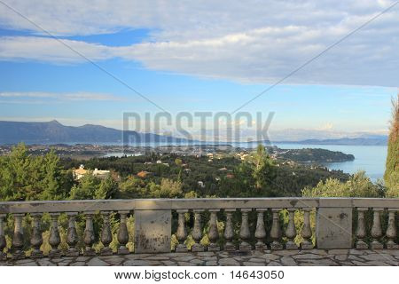 Overview on the island of Corfu fro the Achilion palace