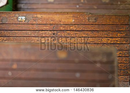 old railway wagon interior vintage. Wood texture. Close up background