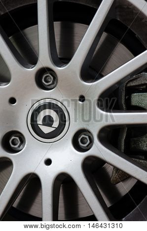 Milan Italy - May 06, 2015: SMART alloy wheel with logo - SAMRT is a division of DAIMLER AG a well known German premium sport and luxury cars maker based in Boblingen. Germany