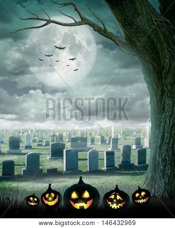 Halloween design - Spooky tree. Horror background with cemetery, and full moon. Space for your holiday text
