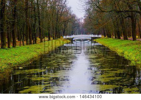 Bridge Over Small Stream. Autumn.russia,the Town Of Pushkin, Tsarskoe Selo. Alexander Park.