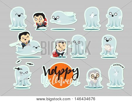 Funny cartoon schoolboy character and ghosts, Scene Concept adventure on Halloween. Doodle cute characters for holiday happy Halloween. Children and mythical creatures. Isolated vector illustration