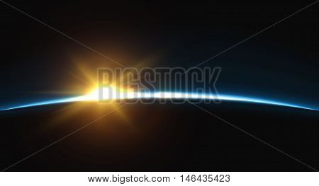 Planet earth sunrise.. Globe Horizon atmosphere. view of the earth from orbit of the planet . Background of the earth from space vector illustration