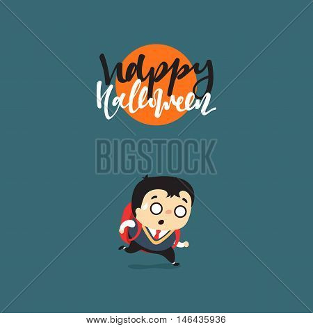 Funny cartoon schoolboy character. Doodle cute characters for holiday happy Halloween.