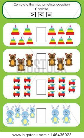Mathematics educational game for children. Learning counting and algebra kids activity. Complete the mathematical equation task, choose more, less or equal