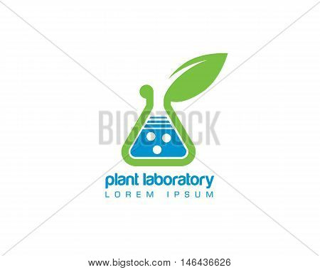 chemistry laboratory plant hidroponia organica emblem, logo template desig isolated on white background