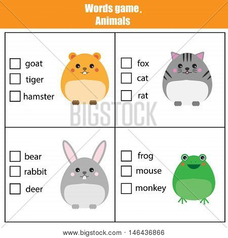 Words test educational game for children. Animals theme, learning vocabulary. Choose the correct answer task