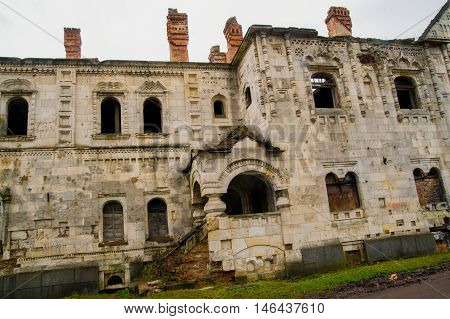 Old Orthodox Church destroyed. Fedorov temple. Autumn.Russia, the town of Pushkin, Tsarskoe Selo