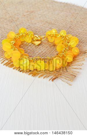 Yellow bracelet with beads. Beautiful womens bracelet
