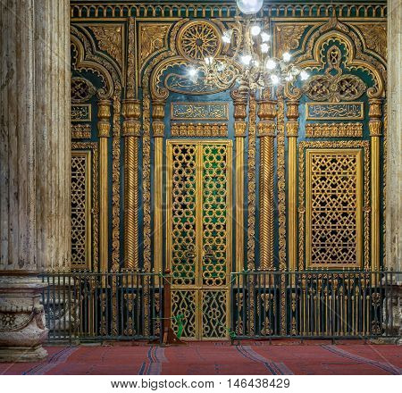 Cairo Egypt - January 10 2016: Tomb (Shrine) of Muhammad Ali Pasha with golden decorations Alabaster Mosque Cairo Citadel