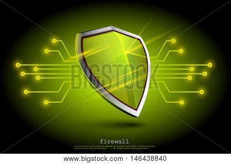 green firewall shield backdround. internet security. shield on the background of the map represents a danger