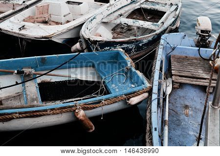 details of old rural fishing boats with gear