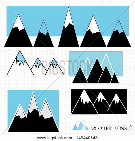 A set of mountain and hill graphics