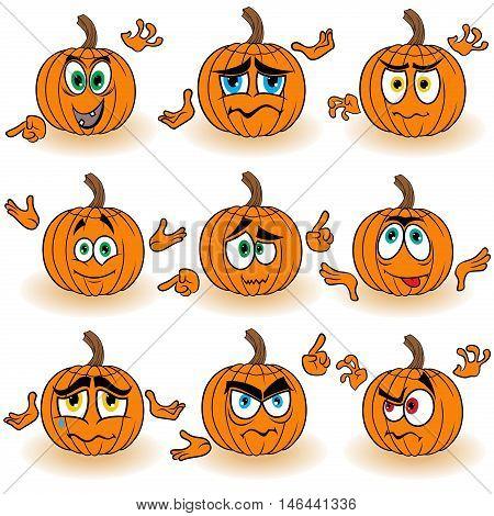 Amusing Gesticulating Orange Pumpkins