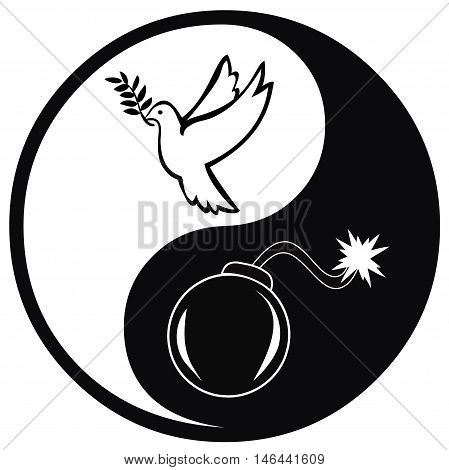 Peace and War. Symbol and concept sign for pacifism versus warfare