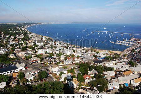 Cape Cod seashore, viewed from Pilgrim Monument, Massachusetts, USA.
