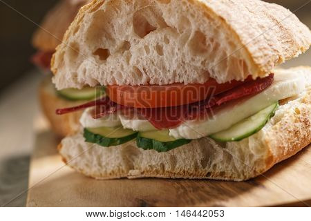 italian sandwich with speck and mozzarella, simple homemade food