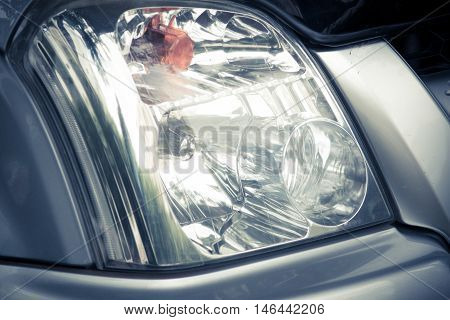 Closeup headlights of car, headlight, closeup, detail, transport