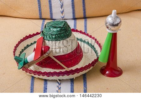 Mexican hat, noisemaker and trumpet. Accessories for mexican Independence Day celebration