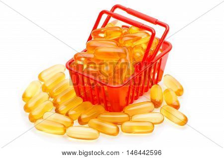 Cod liver oil Omega 3 gel capsules in the shopping basket isolated on white background