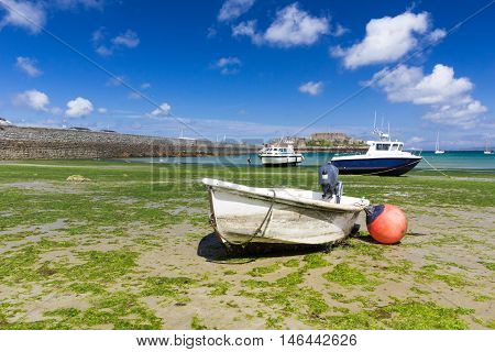 Boats in Havelet Bay, St Peter Port, Guernsey.