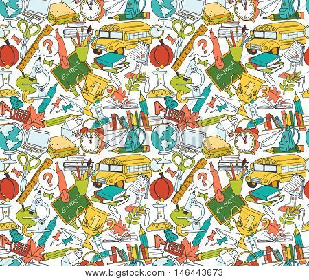 Back To School Seamless Pattern Of Kids Doodles With Bus, Books