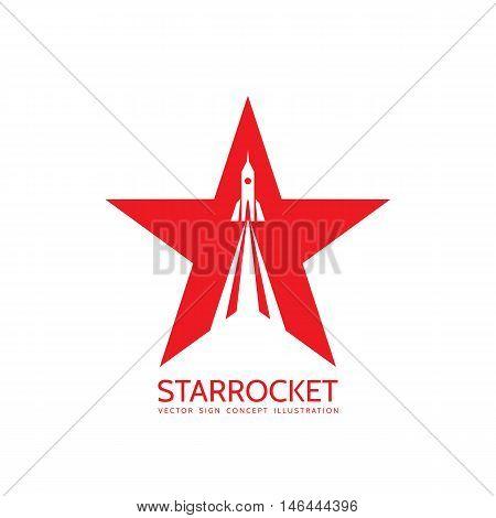 Star rocket - vector logo template concept illustration. Space ship creative sign. Design element.