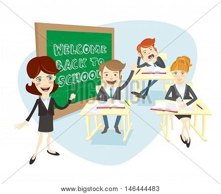 Vector illustration Funny group of univercity students or school pupils and the teacher or professor at theyr desks listening and answer the lesson in front of chalkboard (blackboard) with Welcome back to school. Light flat style design. poster