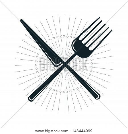 knife and fork crossed. dinner silverware utensil. vector illustration