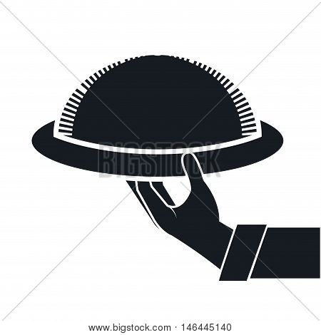 waiter hand holding a restaurant metal platter. silhouette vector illustration