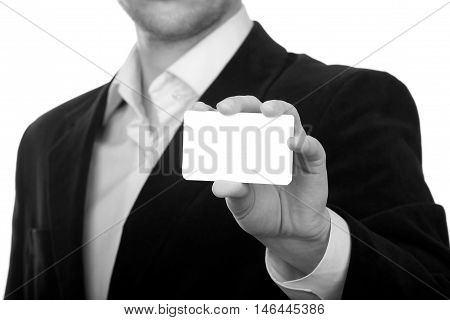Man holding white business card on isolated background