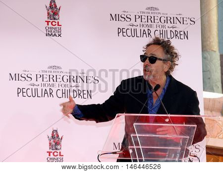 Tim Burton Hand And Footprint Ceremony held at the TCL Chinese Theater in Hollywood, USA on September 8, 2016.