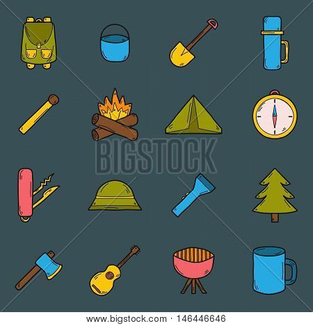 Vector illustration with cartoon hand drawn camping icons. Outdoor hobby or sport objects. Cartoon expedition icons. Hiking camping climbing outdoor activity. Vector mountain and forest leisure