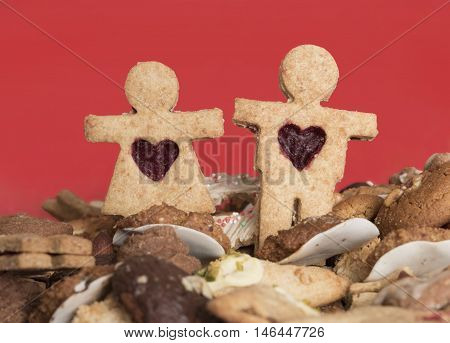 Christmas Cookie Couple, Handmade Wholemeal Cookies On Red Background.