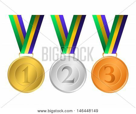 Gold, silver and bronze medals for the winners of the Champions. vector illustration