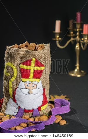 'De zak van Sinterklaas' (St. Nicholas' bag) filled with 'pepernoten'. Traditional Dutch holiday 'Sinterklaas'.