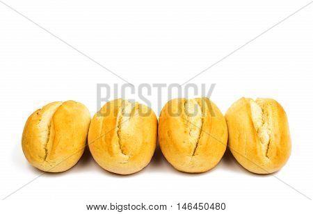 fresh baked rolls  breadbasket, baton on white